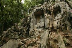 Statues de falaise de klippe du temple de Lingyin Photographie stock