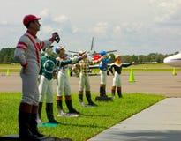 Statues de jockey à un aéroport en Floride Image stock