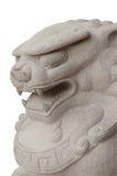 Statues de lion dans le style chinois sur le fond blanc Images libres de droits