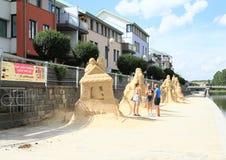 Statues de sable dans Pisek Photos libres de droits