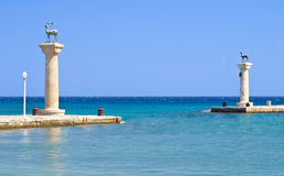 Statues of deer in Rhodes. Statues of deer in harbor of Rhodes city, Rhodes island, Greece stock photography