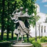 Statues depicting three graceful ballerina dancing Royalty Free Stock Photos