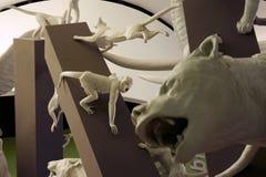 Statues des animaux dans la casserole de parc de biodiversité de Parque Biodiversidad Photographie stock libre de droits