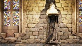 Statues des moines médiévaux avec les torches brûlantes Loopable banque de vidéos