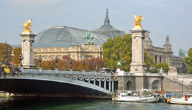 Statues an details of the Alexandre III bridge and The grand Palais Royalty Free Stock Images