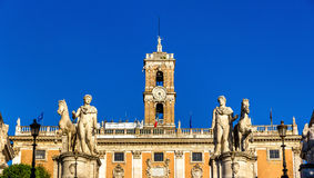 Statues of Dioscures on the Capitoline Hill in Rome Royalty Free Stock Images