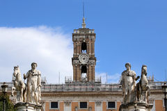 Statues of the Dioscuri on Piazza del Campidoglio in Rome, Italy Royalty Free Stock Photo