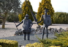 Statues of Don Quixote and Sancho Panza Royalty Free Stock Image