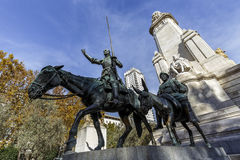 Statues of Don Quixote and Sancho Panza at the Plaza de Espana in Madrid Stock Images