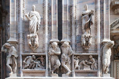 Statues of the Duomo, the cathedral in Milan Stock Photography