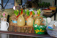 Statues of Easter Bunny for sale at the festival `Moscow spring` in Moscow Royalty Free Stock Image