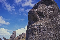 Statues on Easter Island. The mysterious stone statues of Easter Island Royalty Free Stock Images