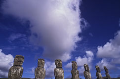 Statues on Easter Island. The mysterious stone statues of Easter Island Royalty Free Stock Photography
