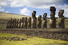 Statues at easter island. Row with statues at easter island Stock Photo