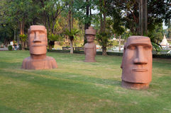Statues of Easter Island in Mini Siam Park Royalty Free Stock Image