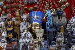 Statues of Egyptian Pharaoh in market. Royalty Free Stock Photography