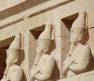 STATUES IN EGYPTIAN TEMPLE Stock Photo