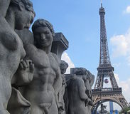 Statues and Eiffel Tower Royalty Free Stock Image