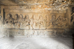 Statues on Ellora caves near Aurangabad in India Stock Photo