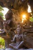 Statues en bois au Siam antique Photo libre de droits