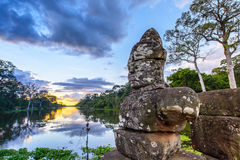 Statues  at the entrance of Angkor Thom Royalty Free Stock Photography