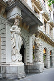 Statues at the entrance. Of the historic building in Budapest (Hungary Royalty Free Stock Images