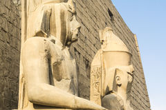 Statues of the entrance of Luxor Temple, Egypt Royalty Free Stock Photos