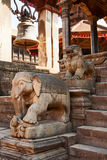 Statues at the entrance to temple, Bhaktapur Royalty Free Stock Image