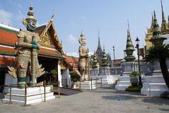 Statues at the entrance of Wat Phra Kaew, Bangkok, Thailand, Asia Royalty Free Stock Image