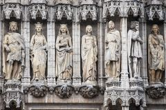 Statues in the Facade of the Brussels Town Hall Royalty Free Stock Photo