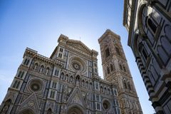 Statues on the facade of the Cattedrale di Santa Maria del Fiore. Cathedral of Saint Mary of the Flower in Florence Stock Images