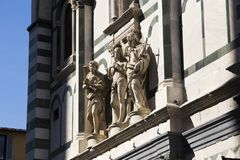 Statues on the facade of the Cattedrale di Santa Maria del Fiore. Cathedral of Saint Mary of the Flower in Florence Stock Photos