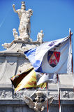 Statues and flags in Alba Iulia stock photography