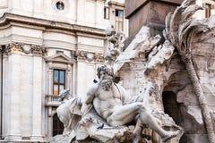 Statues of Fontana dei Quattro Fiumi in Rome Stock Photos
