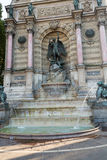 Statues of Fountain Saint Michel in Paris Royalty Free Stock Photo