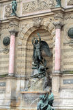 Statues of Fountain Saint Michel in Paris Stock Image
