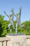 Statues in Frogner park. OSLO, NORWAY - JUNE 21: Vigeland Sculpture Park covers 80 acres (320,000 m2) and features 212 bronze and granite sculptures all designed Royalty Free Stock Images