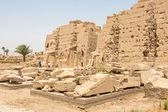 Statues in front of the Egyptian temple in Karnak royalty free stock photo