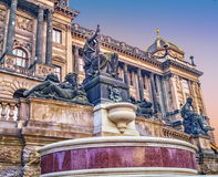 Statues in front of National Museum main building, evening view. Prague, Czech Republic. Royalty Free Stock Photography