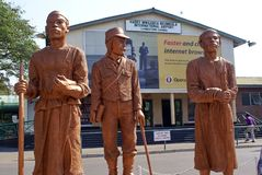 Statues in front of the Vic Falls Airport royalty free stock photo