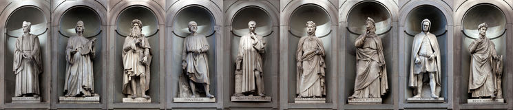 Free Statues Gallery Famous Renaissance Artists Writers, Uffizi, Florence, Italy Stock Photo - 95665900