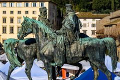 Statues of Garibaldi and Vittorio Emanuele royalty free stock photography
