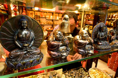 Statues of Gautama Buddha. SHANGHAI - MAR 16 2015:Statues of Gautama Buddha on display.Buddhism practiced by about 500 million people representing 8% of the royalty free stock photo