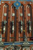 Statues of gods on the House of the Blackheads in Riga stock photo