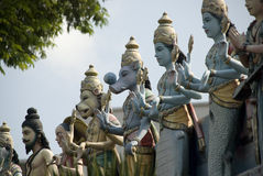 Statues of gods on indian temple Stock Photos