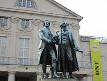 Statues of Goethe and Schiller Royalty Free Stock Photography