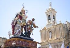 Statues Gozo Malte l'Europe de cortège de Pâques images libres de droits