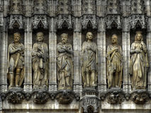 Statues of Grande Place, Brussels, Belgium. The beautiful sculptures at the town hall building, Grande Place, Brussels, Belgium. This photo can be used to Royalty Free Stock Images
