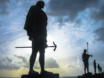 Statues of Guanches Kings at sunset Royalty Free Stock Images