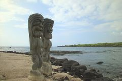 Statues of Hawaiian gods Stock Photos